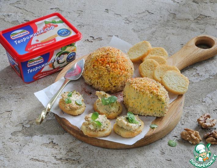 Рецепт: Закусочный сырный шар с зеленью и орехами