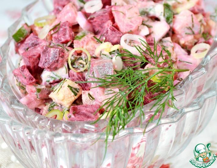 Рецепт: Салат с сельдью и зеленым луком