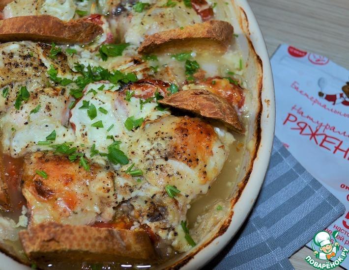 Рецепт: Курица, запеченная в ряженке