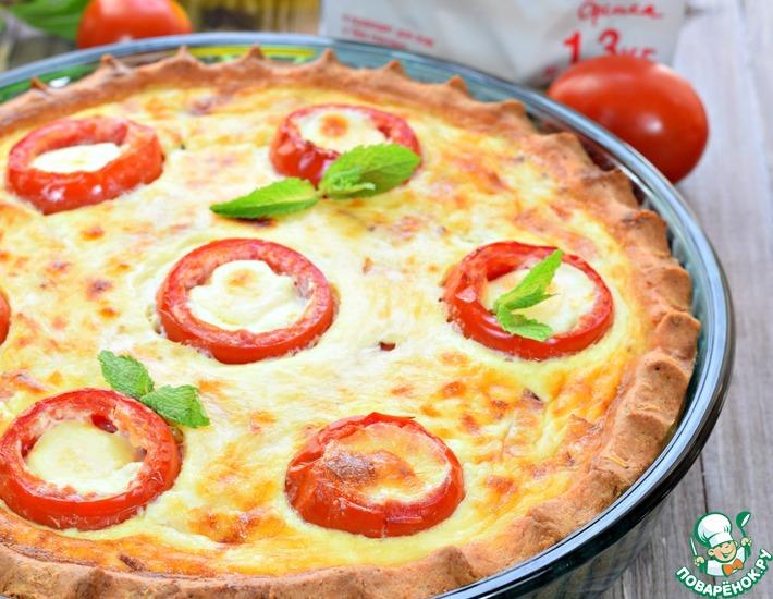 Рецепт: Киш творожный с помидорами