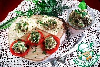 Рецепт: Баклажанная икра с чесноком и яйцами