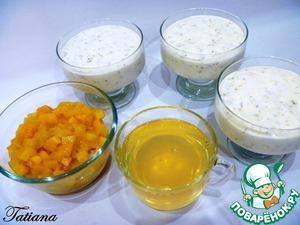 В креманки (3 креманки по 250 мл.)выложите йогуртовую массу, уберите в прохладное место для желирования (достаточно поставить на подоконник). Распустите желатин во второй чашке, смешайте в нарезанным манго. Как только манговое желе хорошо остынет, и начнет слегка желироваться, выложите манговое желе вместе с кусочками манго поверх йогурта. Уберите десерт в холодильник до полного застывания.