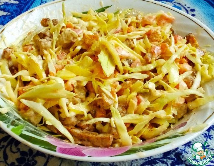 Рецепт: Салат из индейки с сухариками