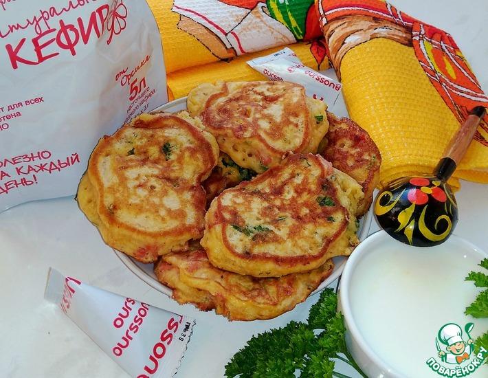 Рецепт: Оладьи с сыром и вялеными помидорами
