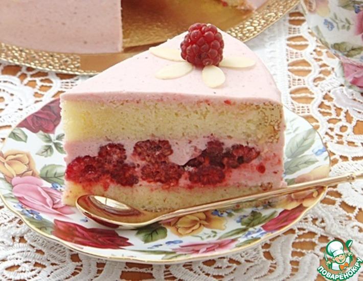 Рецепт: Бисквитный торт со сливочно-малиновым кремом