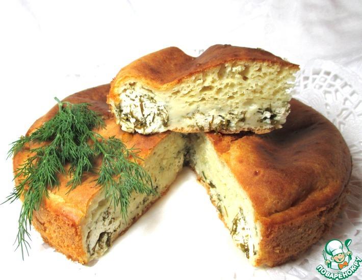 Рецепт: Пирог с творогом и зеленью Аппетитный