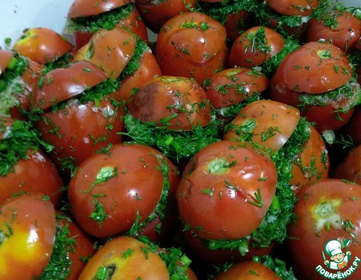 Рецепт: Соленые помидоры с чесноком и укропом