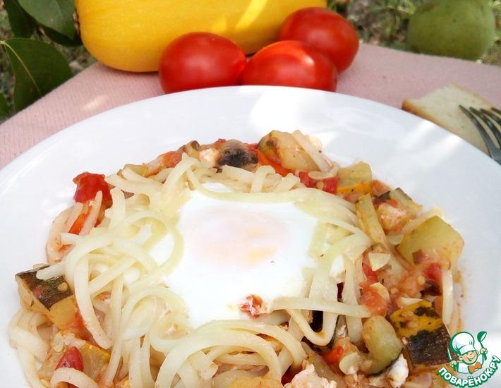 Рецепт: Гнезда из лапши с яйцами и овощами