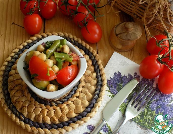 Рецепт: Салат с нутом и стручковой фасолью