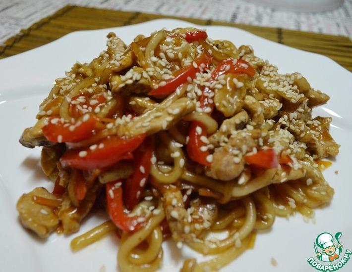Рецепт: Лапша со свининой и овощами