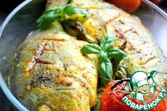 Рецепт: Дорада Золотая рыбка с творожной начинкой