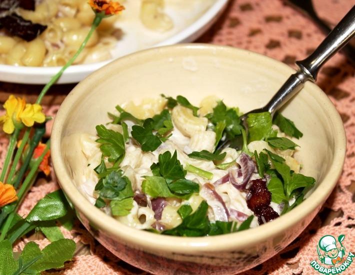 Рецепт: Макароны с беконом в сливочной заливке