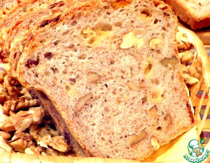Рецепт: Хлеб пшеничный с сыром и орехами
