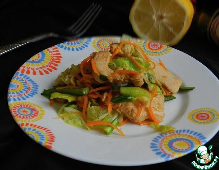 Рецепт: Овощной салат с имбирной курицей