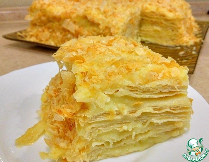 Рецепт: Слоеный торт Наполеон с заварным кремом