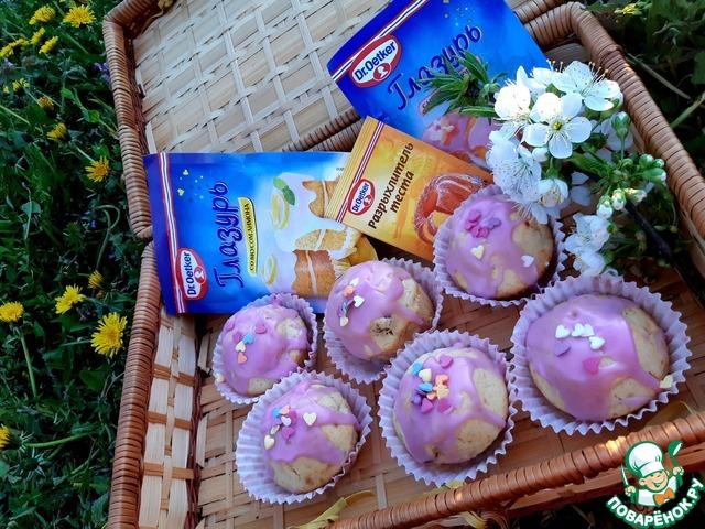 Кексы в глазури с изюмом и курагой photo