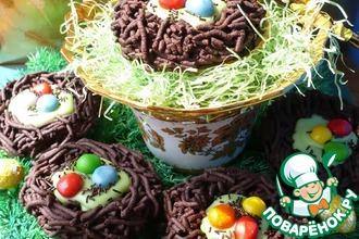 Рецепт: Пасхальное шоколадное печенье Птичьи гнездышки