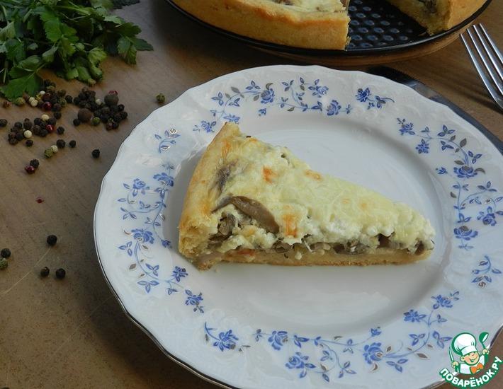 Рецепт: Открытый пирог с вешенками