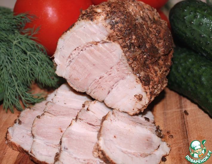 Рецепт: Вареная свиная грудинка