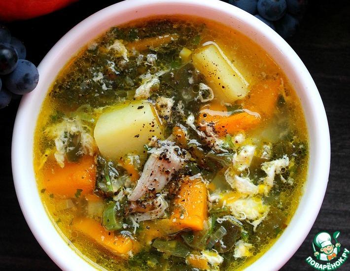 Рецепт: Суп с щавелем и тыквой