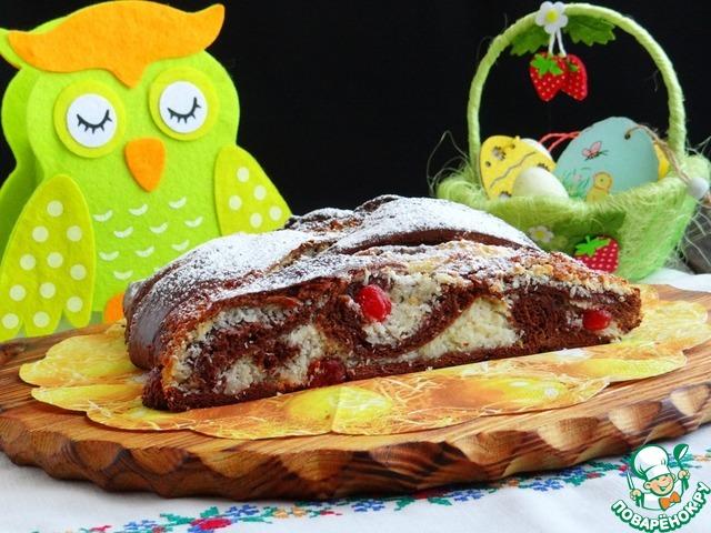 Шоколадный пирог с кокосово-вишневой начинкой photo