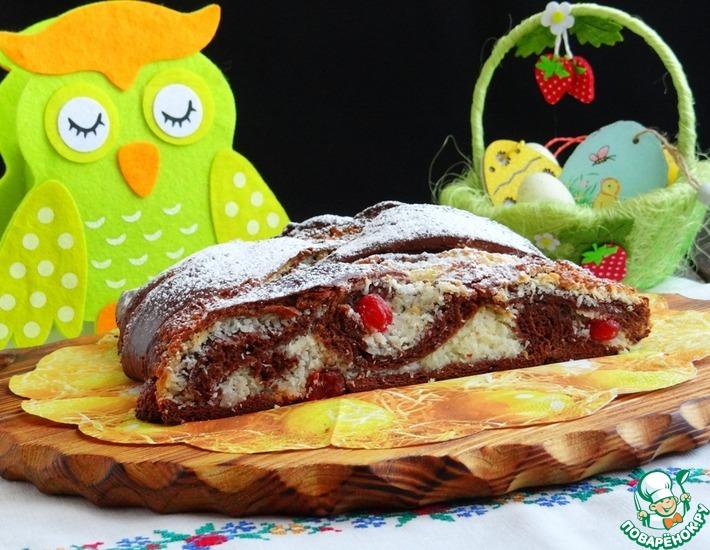 Рецепт: Шоколадный пирог с кокосово-вишневой начинкой