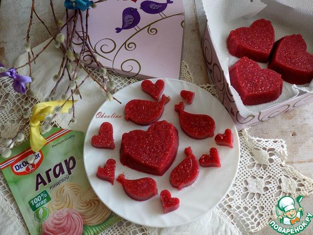 Малиновые желейные конфеты на агар-агаре photo