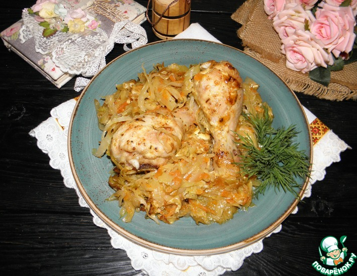 Рецепт: Курица на капусте