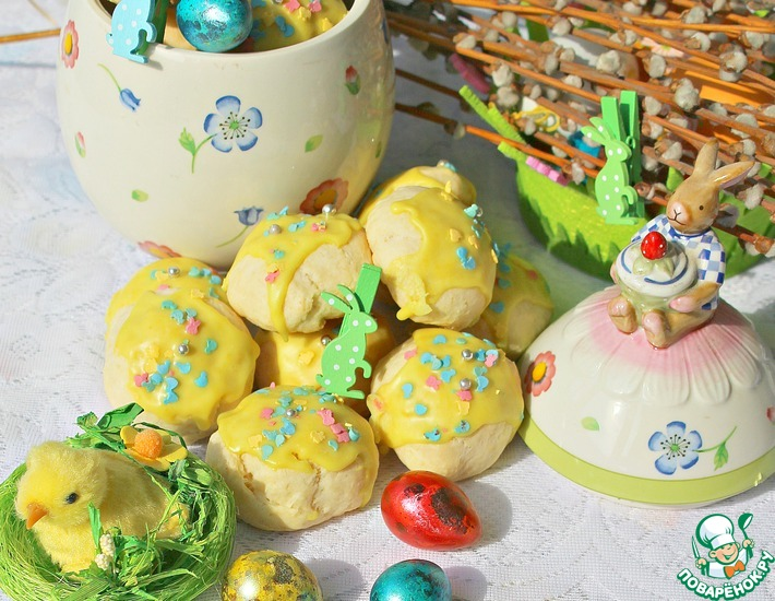 Рецепт: Печенье творожное Весеннее