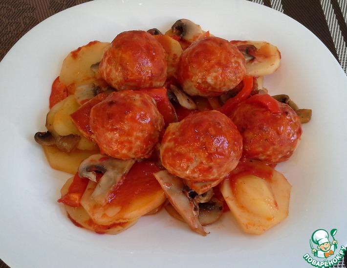 Рецепт: Фрикадельки с овощами в духовке