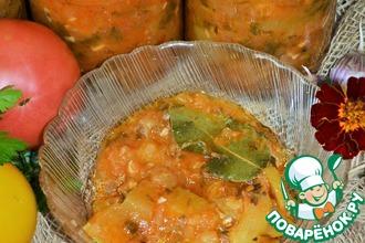 Рецепт: Кабачковые дольки в овощном соусе