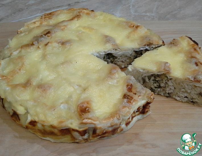 Рецепт: Пирог из лаваша с курицей и баклажанами