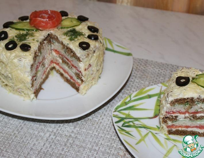 Рецепт: Закусочный торт с красной рыбой