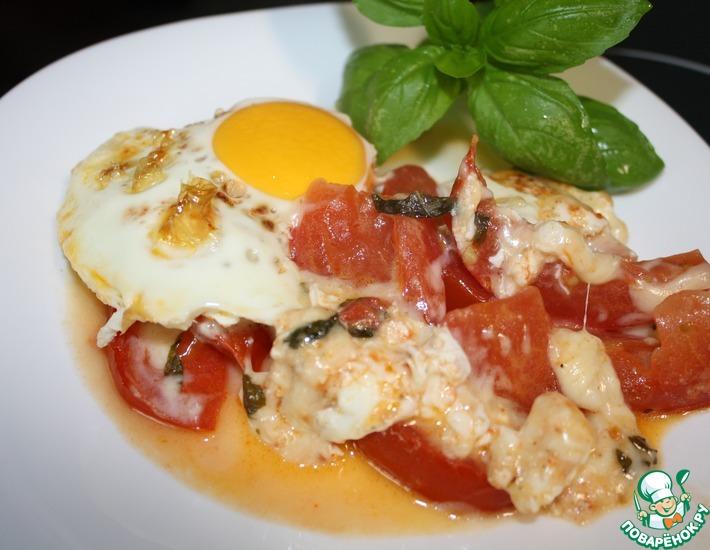 Запеченные помидоры с сыром и яйцом