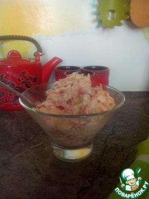 Добавить соль и майонез. Перемешать. Салат готов. Приятного аппетита!!!