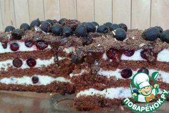 Рецепт: Торт черносмородиновый «Счастливый случай»