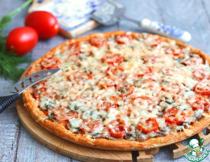 Рецепт: Пицца на сметане с грибами