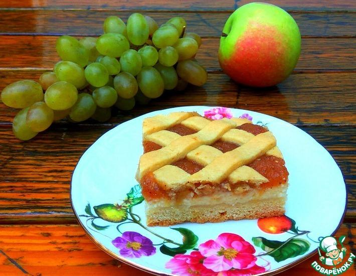 Рецепт: Пирог с творогом и яблоками
