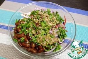 Мелко нарезать зелень кинзы и петрушки, помельче нарезать перчик чили (это по вкусу). Добавить зелень и орехово-чесночную заправку в салат.