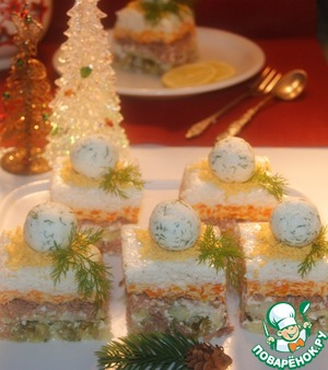 Слоеный зимний салат Желатин