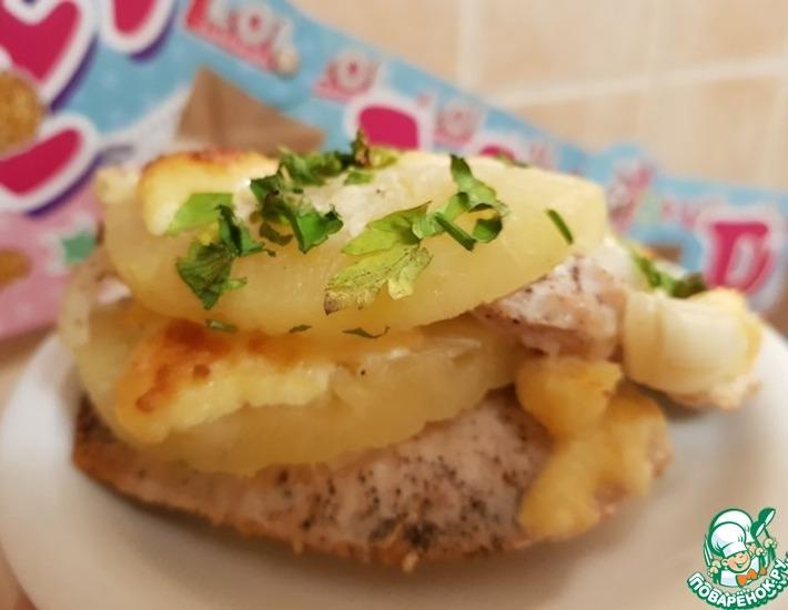 Рецепт: Курица в шубе с ананасом