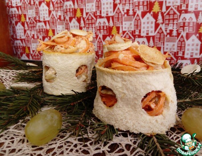 Рецепт: Салат в хлебных кольцах