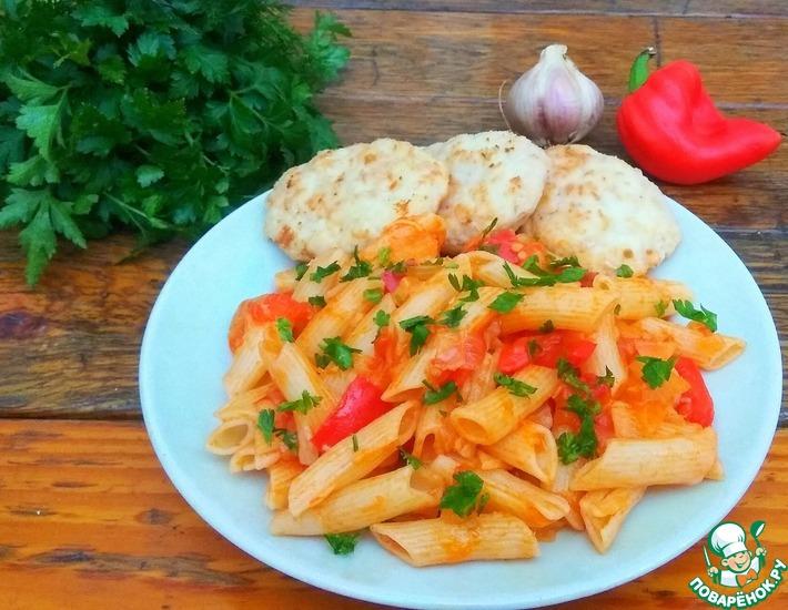 Рецепт: Макароны с томатным соусом и перцем