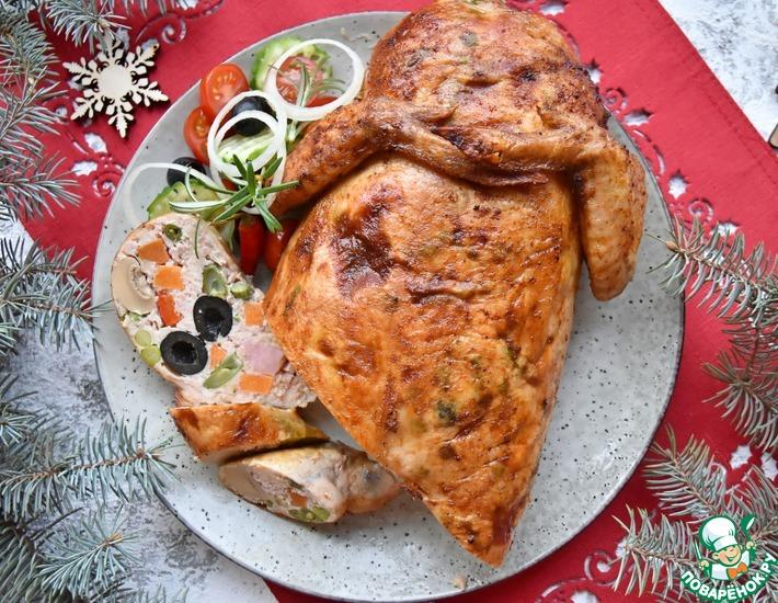 Рецепт: Курица, фаршированная ветчиной и овощами