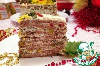 Рецепт: Печеночно-овощной торт Новогодний