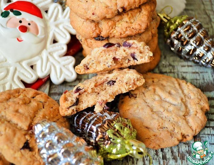 Рецепт: Овсяное печенье с клюквой и шоколадом