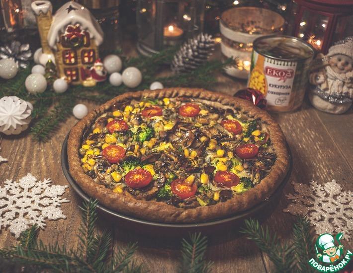 Рецепт: Лоранский пирог с овощами и грибами