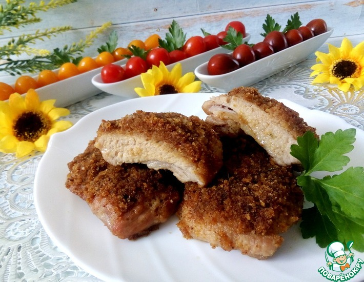 Рецепт: Шницель, запеченный в духовке