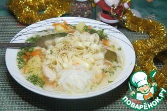 Рецепт: Суп-лапша с маринованным луком