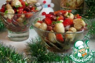 Рецепт: Салат с фасолью, шампиньонами и перцем